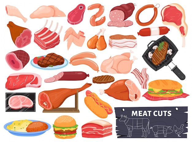 Conjunto de ilustración de carne, dibujos animados colección de alimentos crudos o servidos con carne de cerdo asada cordero o pollo, filete de carne a la parrilla caliente