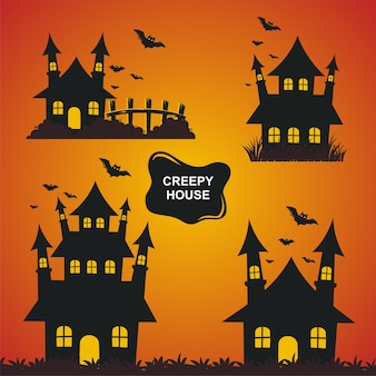 Conjunto de ilustración de casa espeluznante de halloween