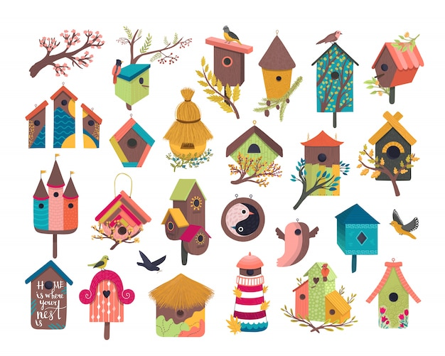 Conjunto de ilustración de casa de pájaros decorativos, casa de pájaros linda de dibujos animados para pájaros voladores, iconos planos de birdbox lindo aislados en blanco