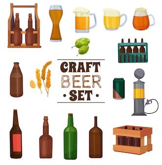 Conjunto de ilustración de cerveza artesanal