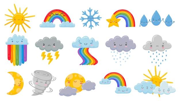 Conjunto de ilustración de clima de dibujos animados lindo.