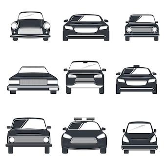 Conjunto de ilustración de coche diferente. vista frontal