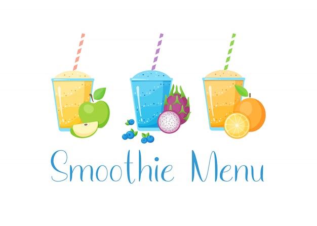 Conjunto de ilustración de cóctel de batido de frutas
