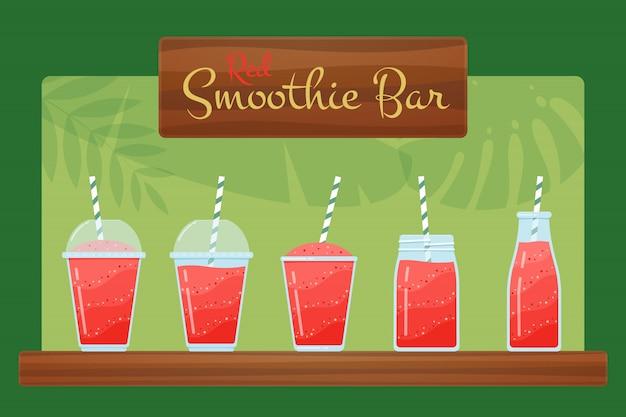 Conjunto de ilustración de cócteles de batido de fresa orgánica roja