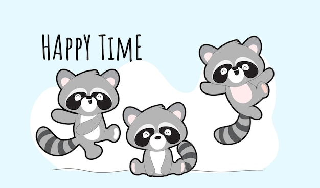 Conjunto de ilustración de colección de mapaches lindo plano