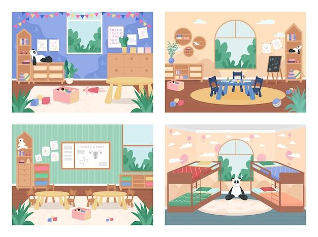 Conjunto de ilustración de color plano de clase de jardín de infantes sin personas