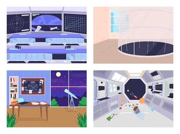 Conjunto de ilustración de color plano de diferentes instalaciones de exploración espacial