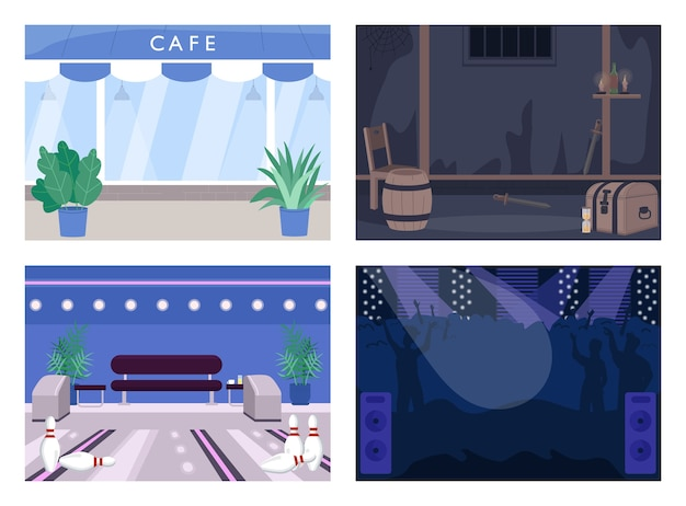 Conjunto de ilustración de color plano de lugar de entretenimiento de fin de semana