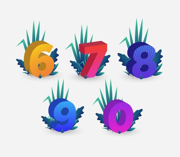 Conjunto de ilustración colorida de números isométricos