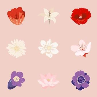 Conjunto de ilustración colorida de pegatinas de flores hermosas