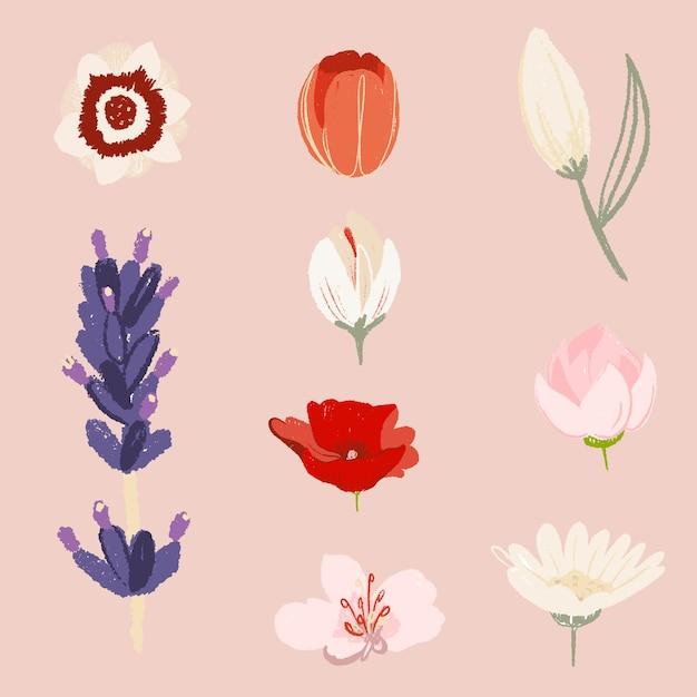 Conjunto de ilustración colorida de pegatinas de flores hermosas vector gratuito