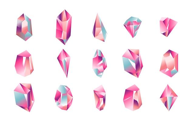 Conjunto de ilustración de coloridos cristales mágicos