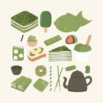 Conjunto de ilustración de comida de postre de té verde matcha