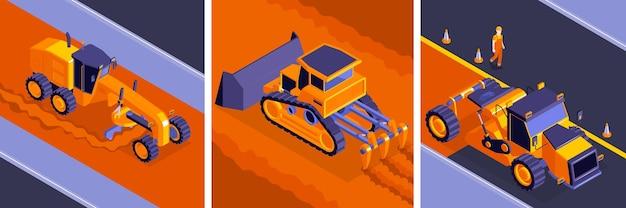 Conjunto de ilustración de concepto de construcción de carreteras