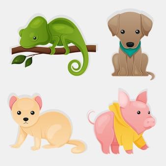 Conjunto de ilustración de concepto de diferentes mascotas
