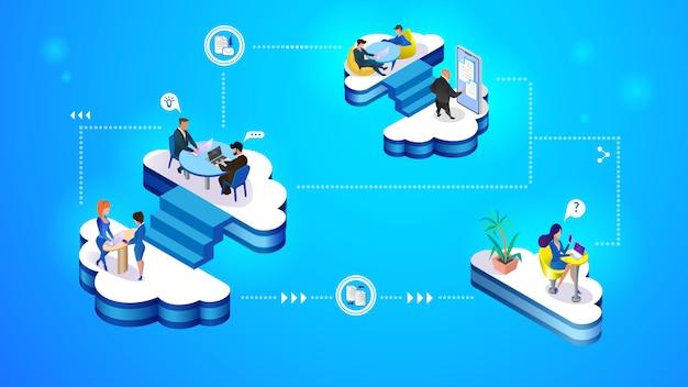 Conjunto de ilustración de concepto de gestión de nube.