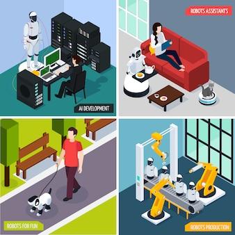 Conjunto de ilustración de concepto de inteligencia artificial