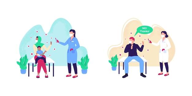 Conjunto de ilustración de concepto plano anti vacunación