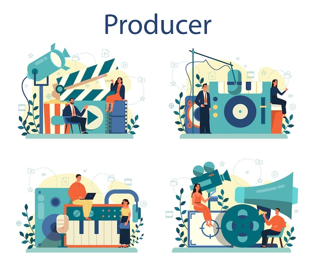 Conjunto de ilustración de concepto de productor