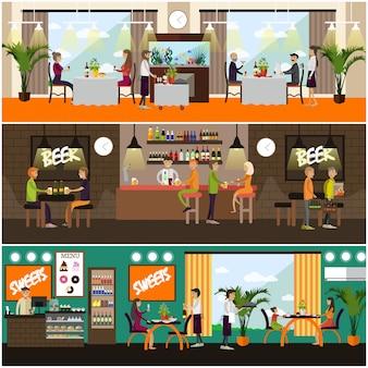 Conjunto de ilustración de concepto de pub y restaurante, estilo plano