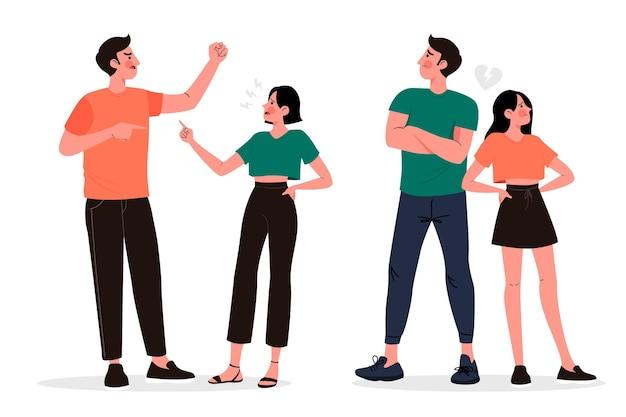 Conjunto de ilustración de conflictos de pareja