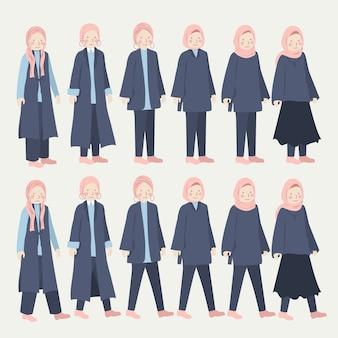 Conjunto de ilustración de conjunto diario informal de niña hijab varios