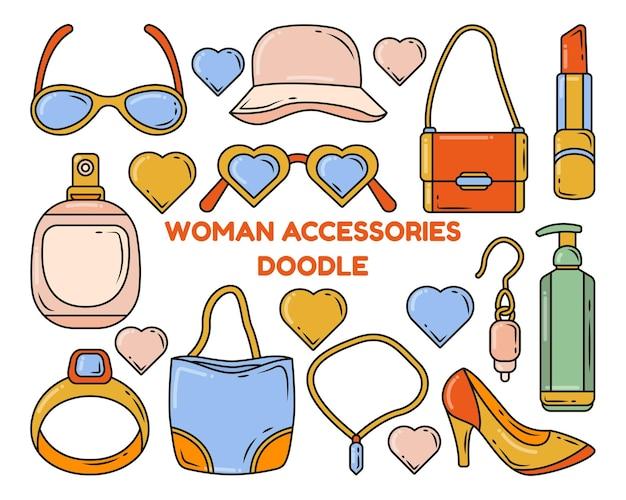 Conjunto de ilustración de conjunto de doodle de dibujos animados de accesorios de mujer dibujados a mano