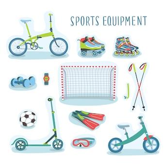 Conjunto de ilustración de conjunto de equipamiento deportivo