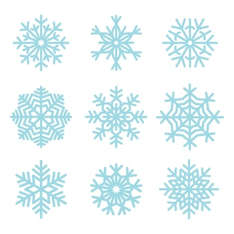 Conjunto de ilustración de copos de nieve