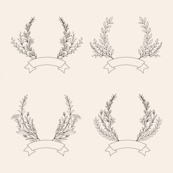 Conjunto de ilustración de corona floral dibujado a mano
