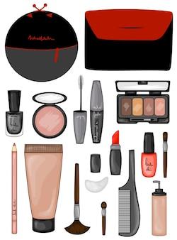 Conjunto de ilustración de cosméticos de maquillaje
