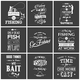 Conjunto de ilustración de cotizaciones tipográficas de pesca vintage