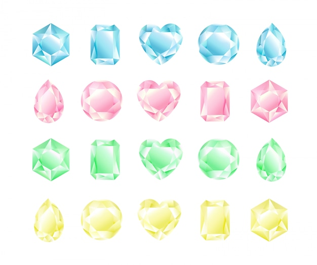 Conjunto de ilustración de cristales de diferentes formas y colores, colección de diamantes, colores pastel.