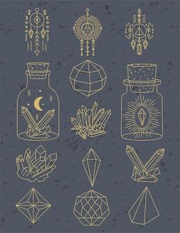 Conjunto de ilustración de cristales geométricos