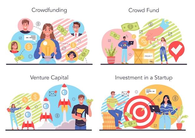 Conjunto de ilustración de crowdfunding