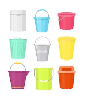 Conjunto de ilustración de cubos coloridos diferentes formas. contenedores con asa en dibujos animados e sobre fondo blanco.