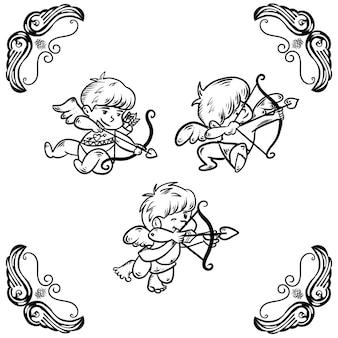 Conjunto de ilustración de cupidos lindo