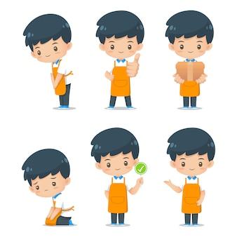 Conjunto de ilustración de delantal de desgaste de personaje de dibujos animados lindo mascota de desgaste