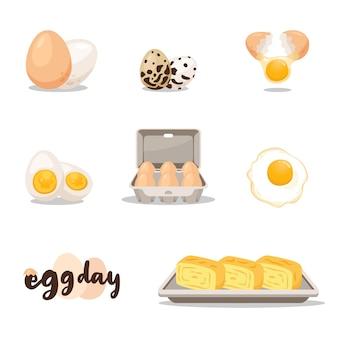 Conjunto de ilustración del día del huevo