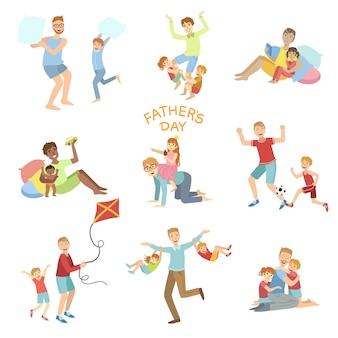 Conjunto de ilustración del día de padres de papás jugando con niños