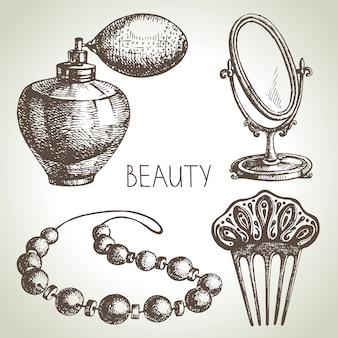 Conjunto de ilustración de dibujo de belleza. ilustración dibujada a mano vintage de cosméticos