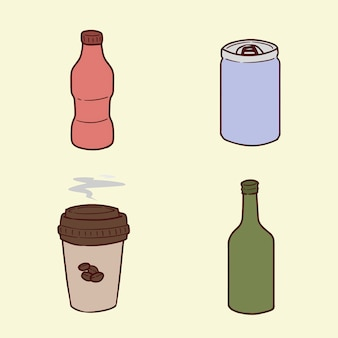 Conjunto de ilustración de dibujo a mano de botella