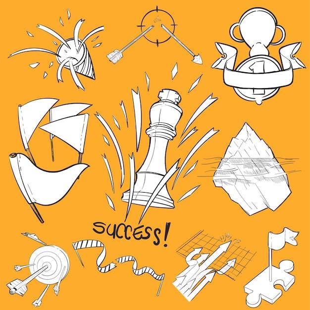 Conjunto de ilustración de dibujo de mano de éxito