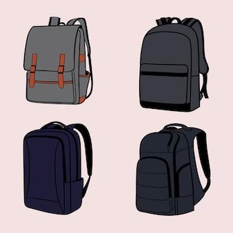 Conjunto de ilustración de dibujo a mano mochila