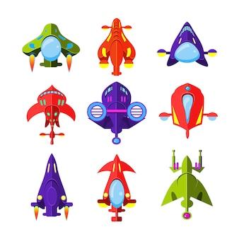 Conjunto de ilustración de dibujos animados coloridos cohetes y naves espaciales