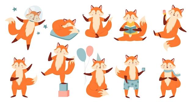 Conjunto de ilustración de dibujos animados divertido zorro.