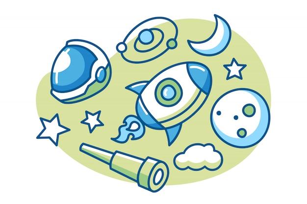 Conjunto de ilustración de dibujos animados de espacio