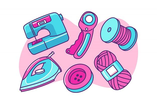 Conjunto de ilustración de dibujos animados de herramientas de costura