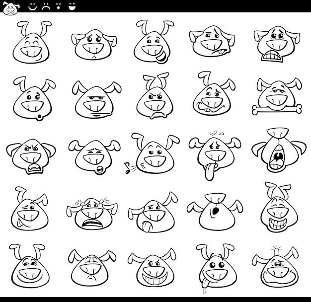 Conjunto de ilustración de dibujos animados de iconos de emoji de perro