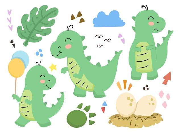 Conjunto de ilustración de dibujos animados lindo bebé dinosaurio